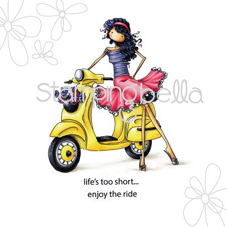 Stamping Bella - Cling Rubber Stamp - Uptown Girl Vienna and her vespa