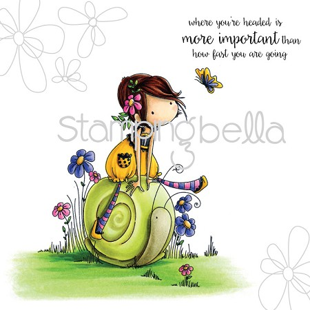 Stamping Bella - Cling Rubber Stamp - Tiny Townie Sally rides her snail
