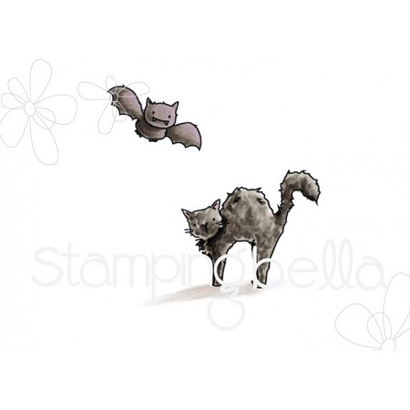 Stamping Bella - Cling Rubber Stamp - Squidgy Bat and Cat