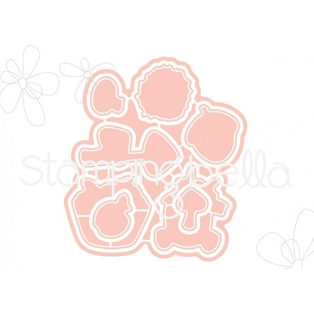Stamping Bella - Cutting Dies - Little Bits Fall Fruit CUT IT OUT dies