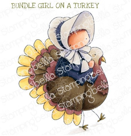 Stamping Bella - Cling Rubber Stamp - BUNDLE GIRL on a TURKEY