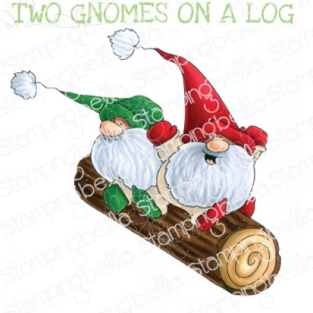 Stamping Bella - Cling Rubber Stamp - Two GNOMES On A Log