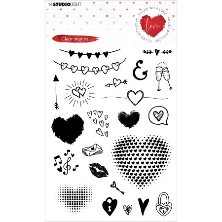 Studio Light - Filled with Love Hearts Clear Stamp FWL508