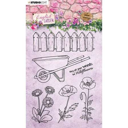 Studio Light - English Garden - Wheelbarrow & Fence Clear Stamp #433