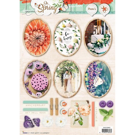 Studio Light - So Spring - Easy 3D Punched sheet of die cuts (ovals)
