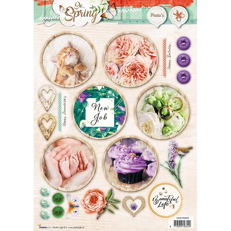 Studio Light - So Spring - Easy 3D Punched sheet of die cuts (circles)