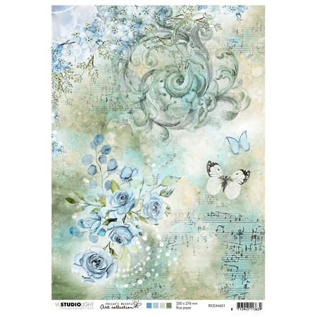 Studio Light - Jenine's Mindful Art - Blue Roses Rice Paper No. 1