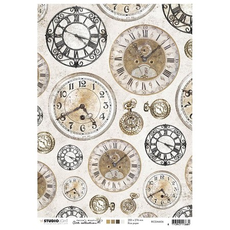 Studio Light - Jenine's Mindful Art - Clocks Rice Paper No. 6