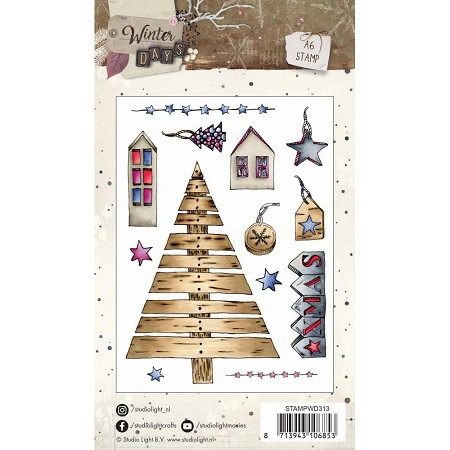 Studio Light - Winter Days - Wooden Christmas Tree Clear Stamp Set