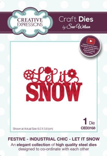 Sue Wilson Designs - Die - Festive Industrial Chic Collection Let It Snow
