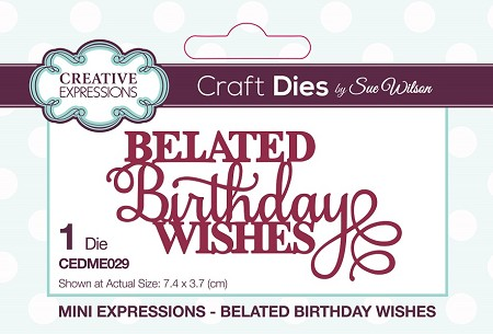 Sue Wilson Designs - Die - Mini Expressions - Belated Birthday Wishes