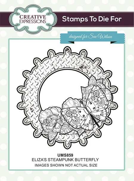 Sue Wilson Designs - Cling Mounted Stamp - Eliza's Steampunk Butterfly