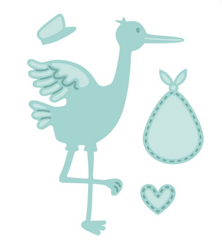 Sue Wilson Designs - Die - New Arrival Collection - Stork and Baby