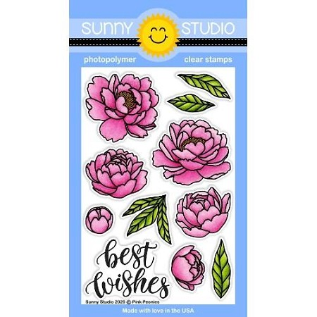 Sunny Studio - Clear Stamp - Pink Peonies