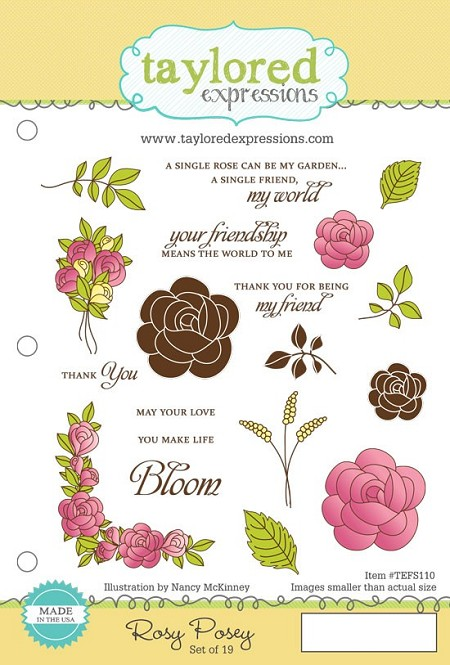 Taylored Expressions - Cling Mounted Rubber Stamp - Rosy Posey