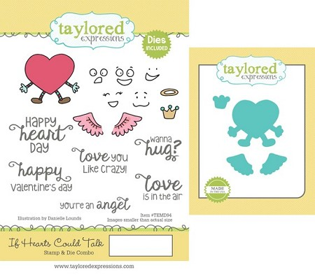 Taylored Expressions - Rubber Cling Stamps & Die Set - If Hearts Could Talk
