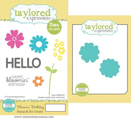 Taylored Expressions - Rubber Cling Stamps & Die Set - Blooming Birthday