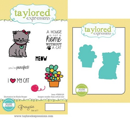 Taylored Expressions - Rubber Cling Stamps & Die Set - Graysie