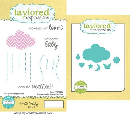 Taylored Expressions - Rubber Cling Stamps & Die Set - Hello Baby
