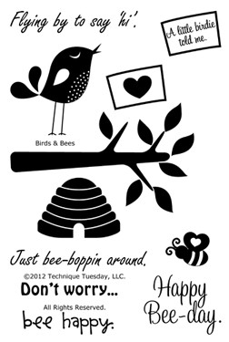 Technique Tuesday-Clear Stamp Set- Birds and Bees