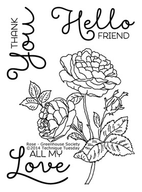 Technique Tuesday - Clear Stamp - Greenhouse Society - Rose