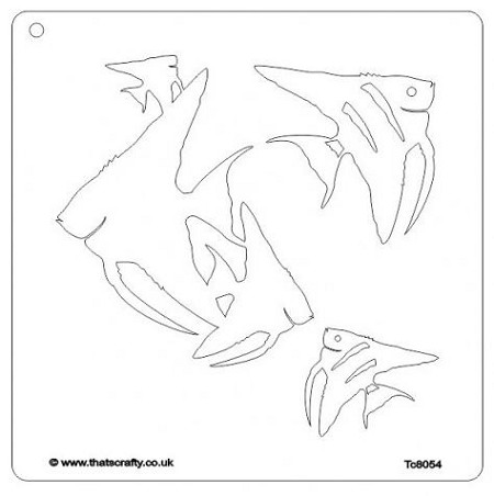 That's Crafty! - 8x8 Stencil - Angel Fish Group Mask by Susana Magenheimer
