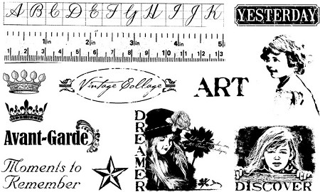 TJ Designs - Cling Mounted Rubber Stamp Collection by TweetyJill - Vintage Collage