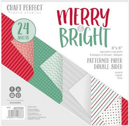 "Tonic Studios - Merry & Bright Patterned Card 6""x6"" Paper Pad"
