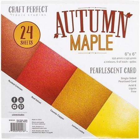 "Tonic Studios - Autumn Maple Pearlescent Card 6""x6"" Paper Pad"