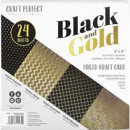 "Tonic Studios - Foiled Kraft Black & Gold Card 6""x6"" Paper Pad"