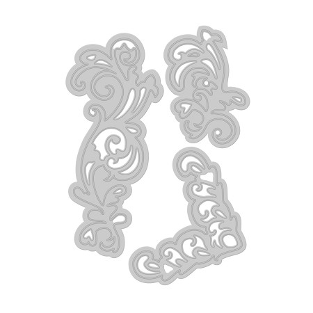 Tonic Studios - Cutting Die - Fanciful Flourish Floral Flourish Embellishment Die Set (set of 3 dies)
