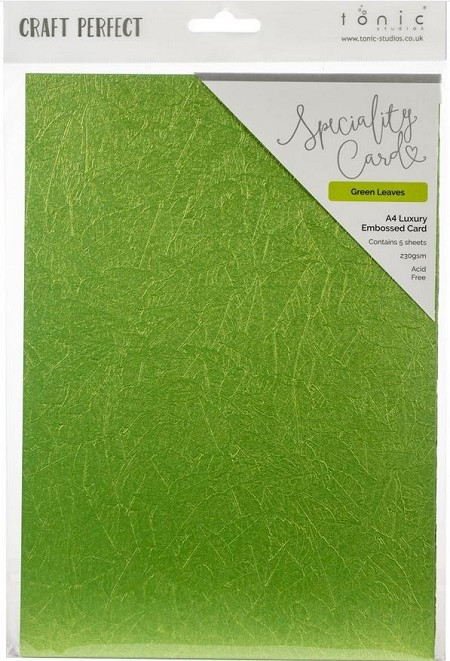 "Tonic Studios - Craft Perfect Luxury Embossed Cardstock - A4 Green Leaves (8.25""x11.75"")"