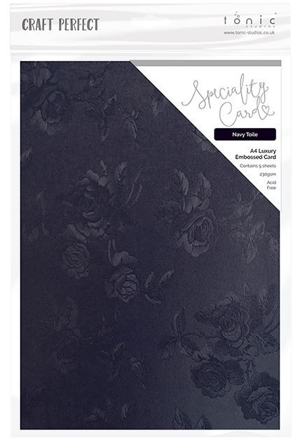"Tonic Studios - Craft Perfect Luxury Embossed Cardstock - A4 Navy Toile (8.25""x11.75"")"