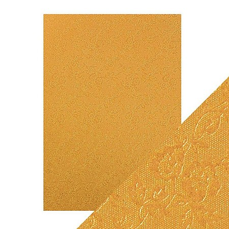 "Tonic Studios - Craft Perfect Luxury Embossed Cardstock - A4 Honey Gold Roses (8.25""x11.75"")"