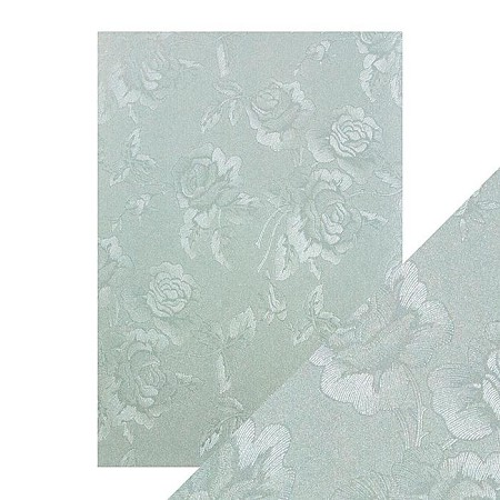 "Tonic Studios - Craft Perfect Luxury Embossed Cardstock - A4 Duck Egg Toile (8.25""x11.75"")"