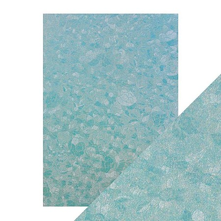 "Tonic Studios - Craft Perfect Luxury Embossed Cardstock - A4 Powder Blue Lace (8.25""x11.75"")"