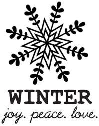 Unity Cling Rubber Stamp - My Little Shoebox Winter Joy, Peace, Love