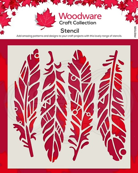"Woodware Craft - Fancy Feathers stencil (5.75"")"
