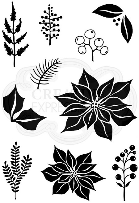 Woodware Craft - Clear Stamp - Poinsettia Mix