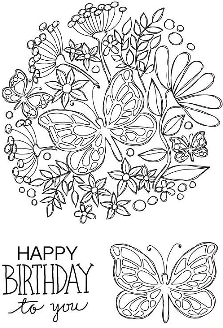 Woodware Craft - Clear Stamp - Butterfly Posy