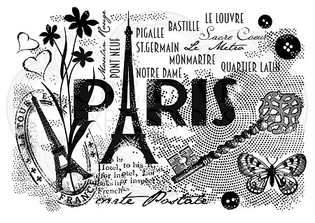 Woodware Craft - Clear Stamp - Paris Postcard
