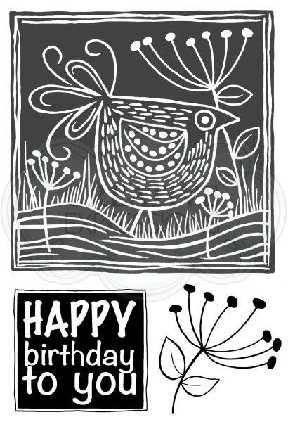 Woodware Craft - Clear Stamp - Lino Cut - Chicken in the Grass