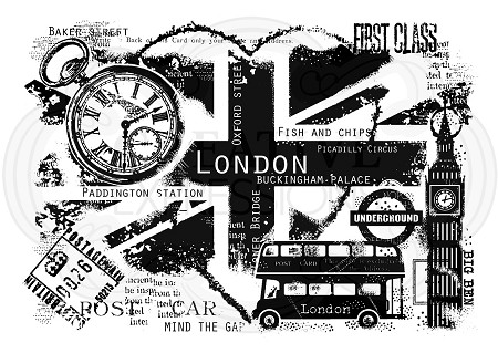 Woodware Craft - Clear Stamp - London Postcard